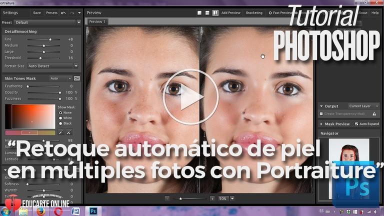 retoque automatico de piel en photoshop con portraiture