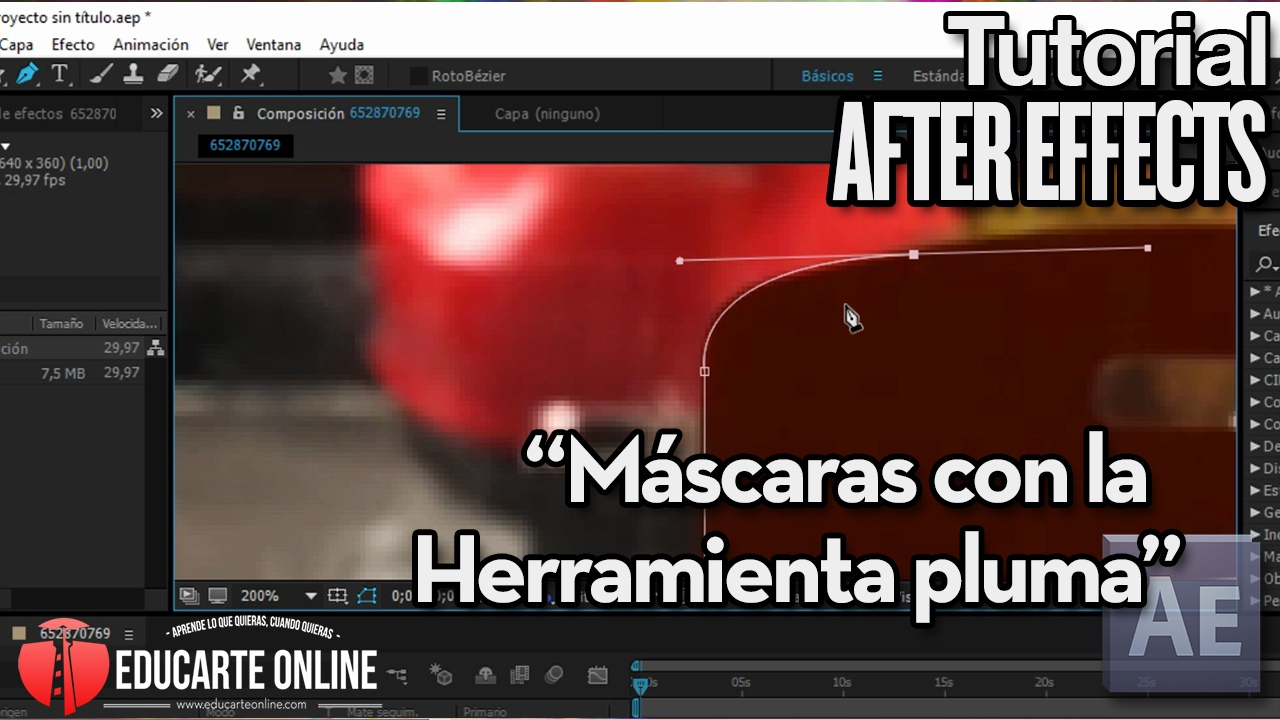 tutorial basico mascaras con pluma en after effects