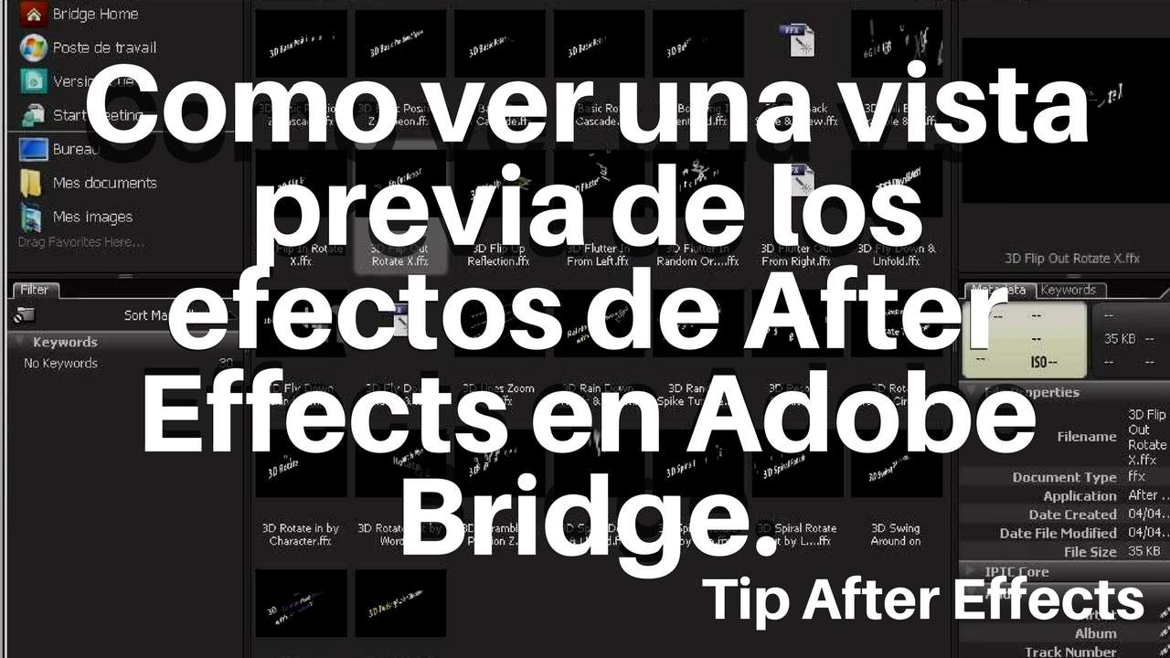 Vista previa de efectos de After Effects en Bridge