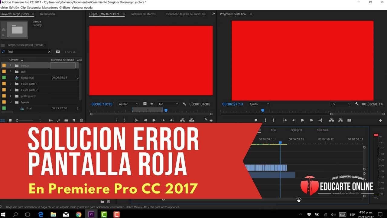 Solucion error pantalla roja en premiere pro